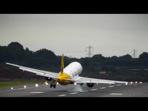 MONARCH A320 AWFUL LANDING IN STRONG WINDS & WIND SHEAR, BOUNCE, FLOAT, GO-AROUND?!