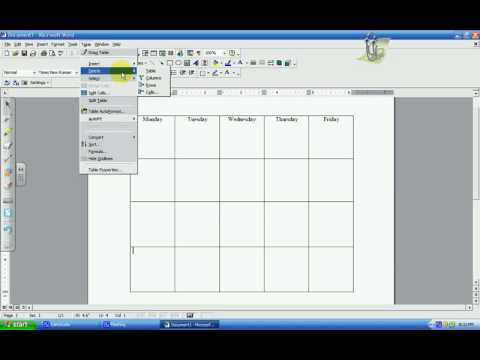 Microsoft Word: Making a Table/Chart