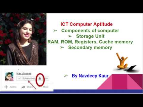 ICT Computer Aptitude- Storage Unit, RAM, ROM, Registers, Cache, Secondary memory | in Hindi Class 8