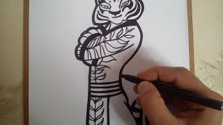 Como dibujar a tigresa de kung fu panda 3 / how to draw Tigress Kung Fu Panda 3