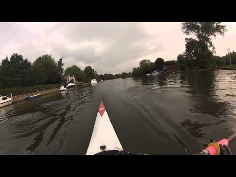 Coxless four rowing on the Thames in Wallingford