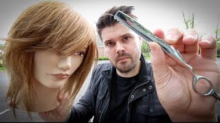 Shag Haircut Tutorial - Medium Length Layered Haircut With A Razor | MATT BECK VLOG 46