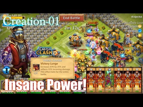 Creation-01 Damage Traits & Victory Lunge Lv5 INSANELY POWERFUL? Castle Clash