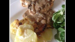 Recette de blancs de poulet à la crème et aux champignons  facile