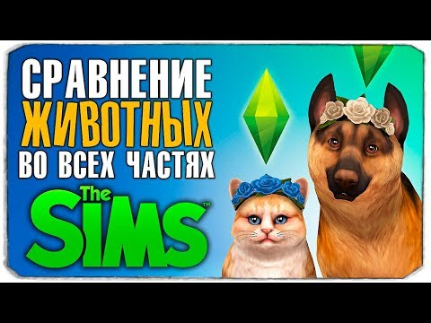 """СРАВНЕНИЕ ЖИВОТНЫХ ВО ВСЕХ ЧАСТЯХ ИГРЫ """"THE SIMS"""" (The Sims/The Sims 2/The Sims 3/The Sims 4)😜"""