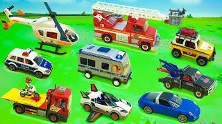 Пожарная и полицейская машина Эвакуатор Автокран. Fire and police vehicle Tow truck for kids