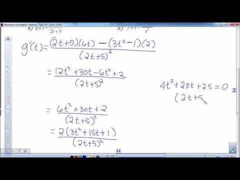 Quotient Rule & Higher Order Derivative