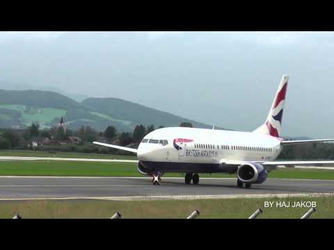 British Airways Boeing 737-400 landing and take off at Salzburg Airport