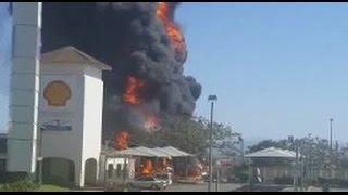 WATCH: Gas explosions, trucks burn at petrol station