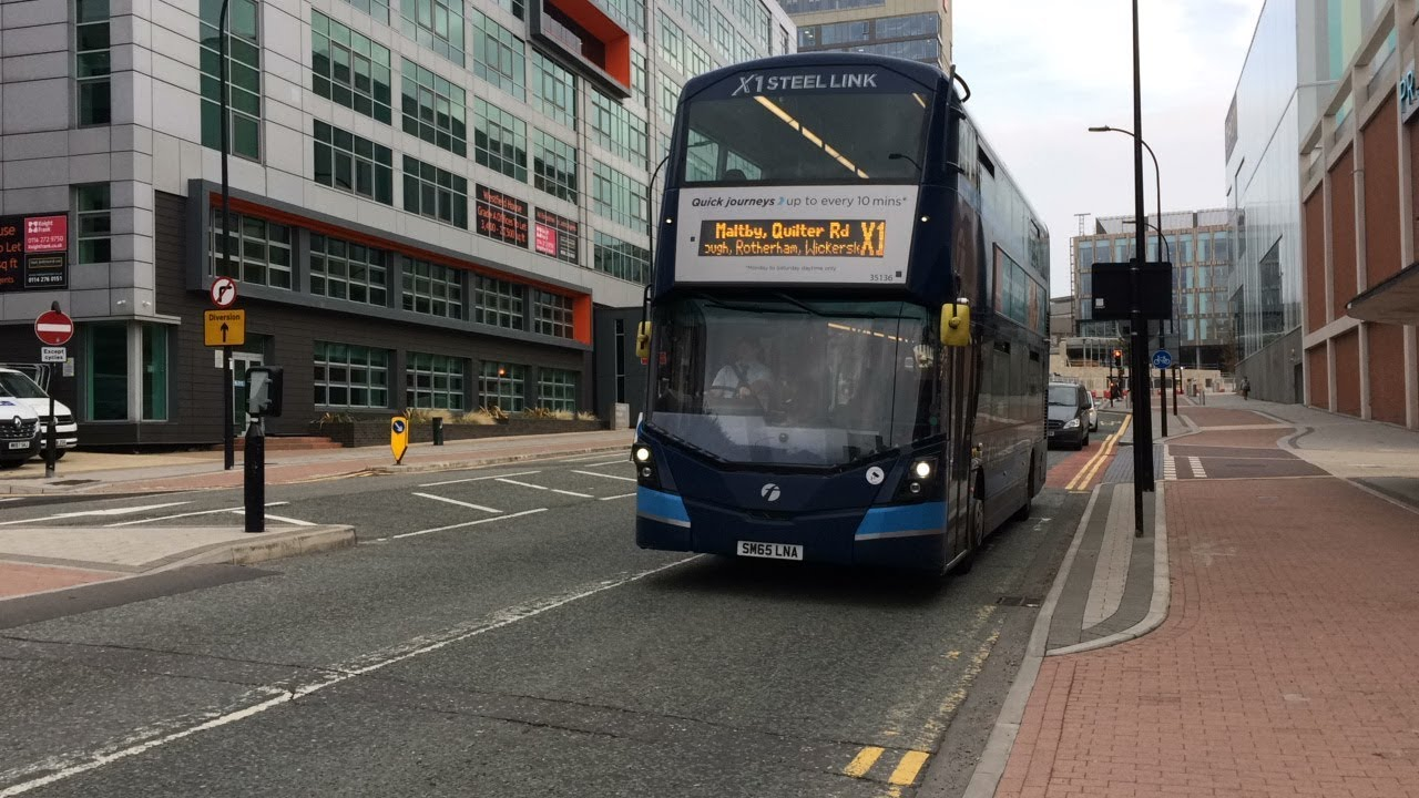 First Sheffield 35136 Heads Down Charter Row Working A Route X1 Service To Maltby Youtube