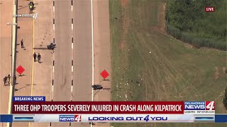 Three troopers seriously injured after wreck in Oklahoma City involving motorcade for fallen police