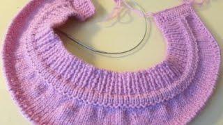 Имитация пришивной горловины при вязании сверху спицами. thumbnail