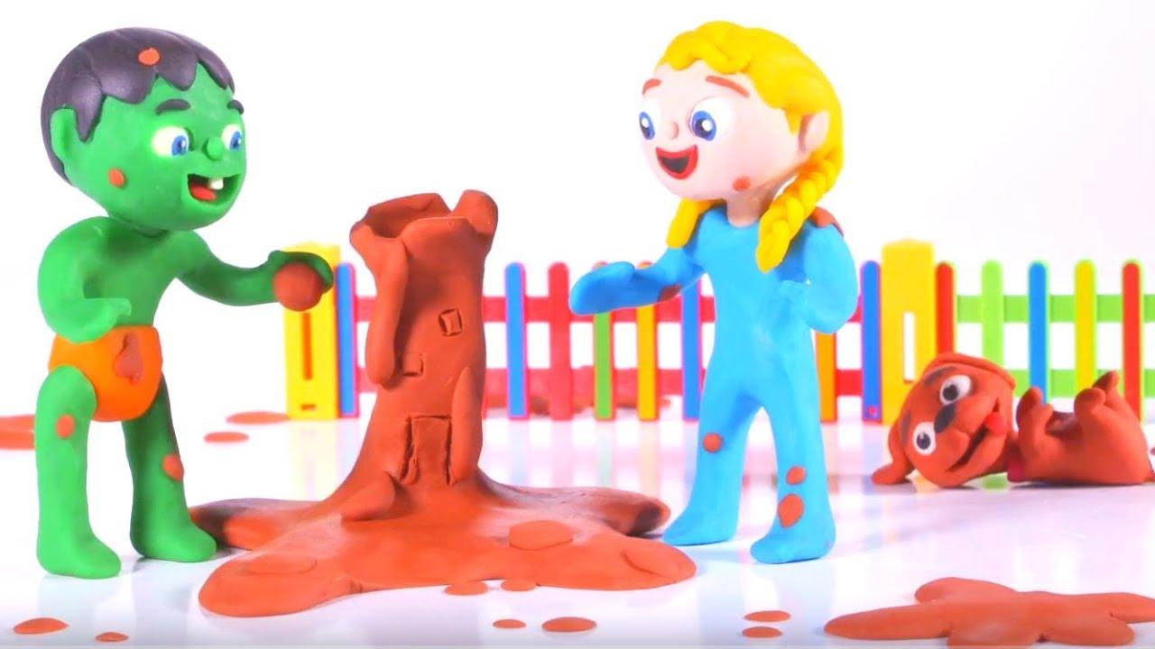 SUPERHERO BABIES PLAY WITH MUD ❤ SUPERHERO BABIES PLAY DOH CARTOONS FOR KIDS