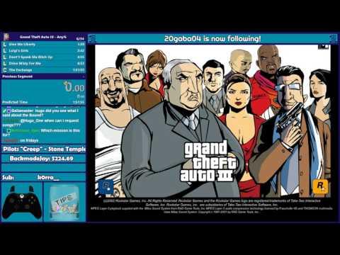 GTA 3 and Vice City Any% Speedruns - Hugo_One Twitch Stream - 7/13/2017