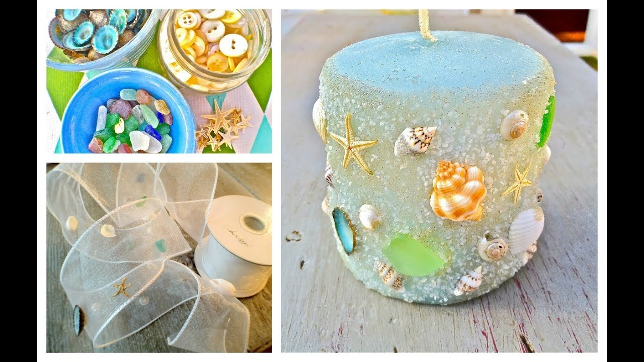 DIY Seashell, seaglass and sand Candles - YouTube for Ideas For Candle Decoration Competition  55nar