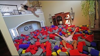 WORLD'S BIGGEST HOMEMADE FOAM PIT!! *INSANE FLIPS*