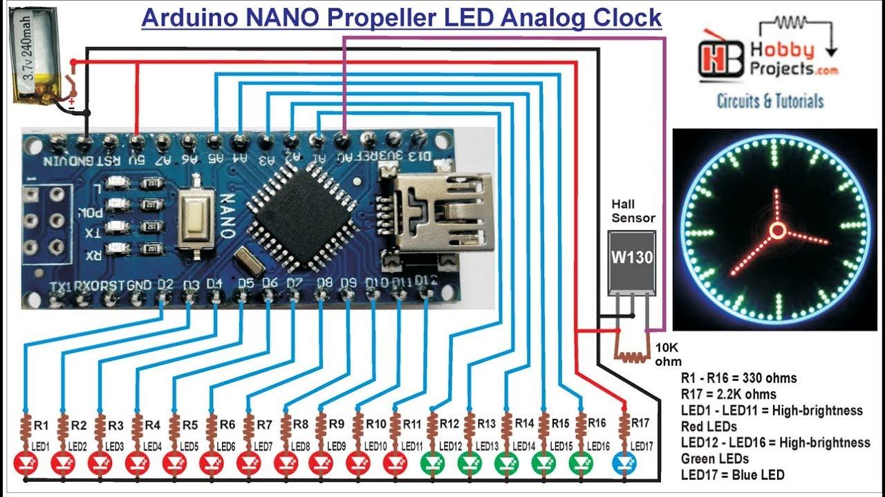 Arduino NANO Propeller LED Analog Clock