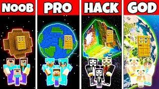 Minecraft: FAMILY EARTH PLANET BLOCK HOUSE CHALLENGE - NOOB vs PRO vs HACKER vs GOD in Minecraft