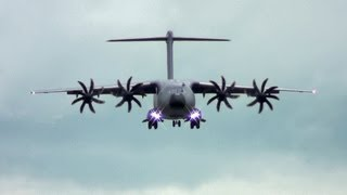 Repeat youtube video Tactical Short Landing C-17 vs A400M. What Brakes The Most. Reversers, Wheels, Props, Spoilers?