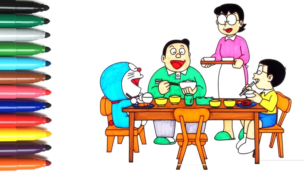 Menggambar Dan Mewarnai Doraemon Keluarga Nobita Makan Malam