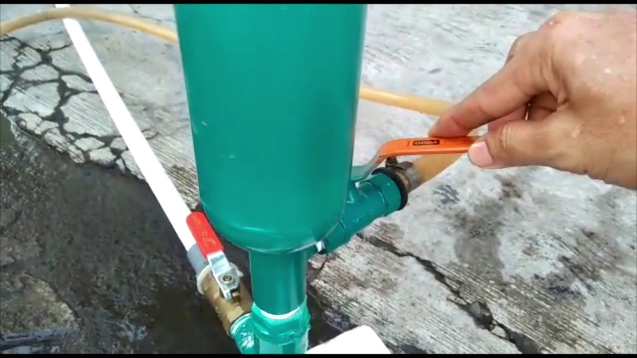 Percobaan Pompa Air Tanpa Listrik/Hidram/Ram Pump, kecil ...