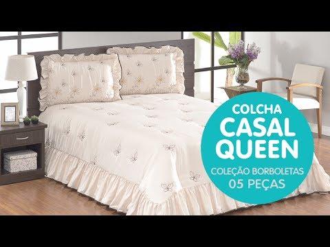 59e00b50cc COLCHA PARA CAMA DE CASAL QUEEN BORBOLETAS - BORDA BORDADOS - YouTube