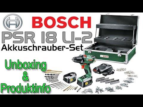 bosch psr 18 li 2 akkuschrauber unboxing 1080p fullhd. Black Bedroom Furniture Sets. Home Design Ideas