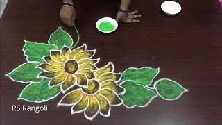 simple new year kolam muggulu || creative Happy New Year Muggulu||