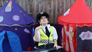 Police and Big Inflatable  pretend play  videos for kids , les boys tv