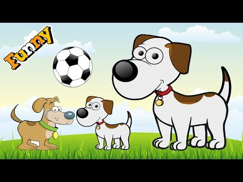 Funny Dogs Cartoons for Children - Funny Dog Video for Children – Cute Dogs Playing Soccer