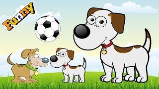 Divertido Perros de dibujos animados para Niños - Gracioso Perro Video para Niños – Lindos Perros Jugando al Fútbol