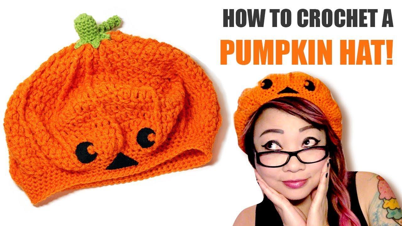 5e1b4bdbc8deb How to Crochet a Pumpkin or Jack-o-lantern Slouchy Beret Hat - YouTube