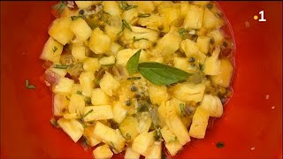 Salade d'ananas à l'aloe vera, gingembre et basilic