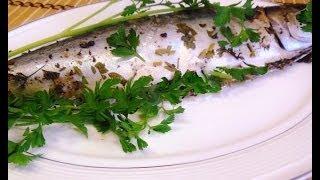 Скумбрия с зеленью запеченная в духовке.Рыба запеченная в духовке