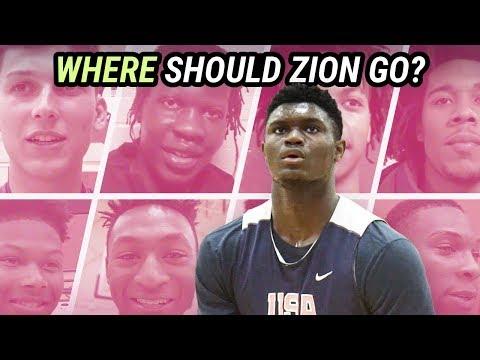Where Should ZION WILLIAMSON Commit? Bol Bol, Tyler Herro, RJ Barrett & More RECRUIT HIM!