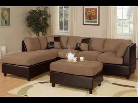 Saddle Microfiber Sectional with Ottoman by Poundex : microfiber sectional with ottoman - Sectionals, Sofas & Couches