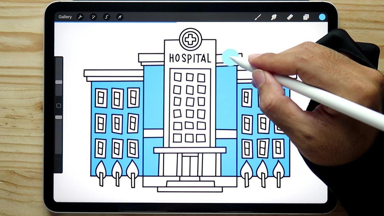 Cara Menggambar Dan Mewarnai Rumah Sakit
