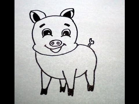 วาดรูปหมูน้อย สอนวาดรูปการ์ตูนน่ารัก ง่ายๆ How To Draw Pig Cartoon