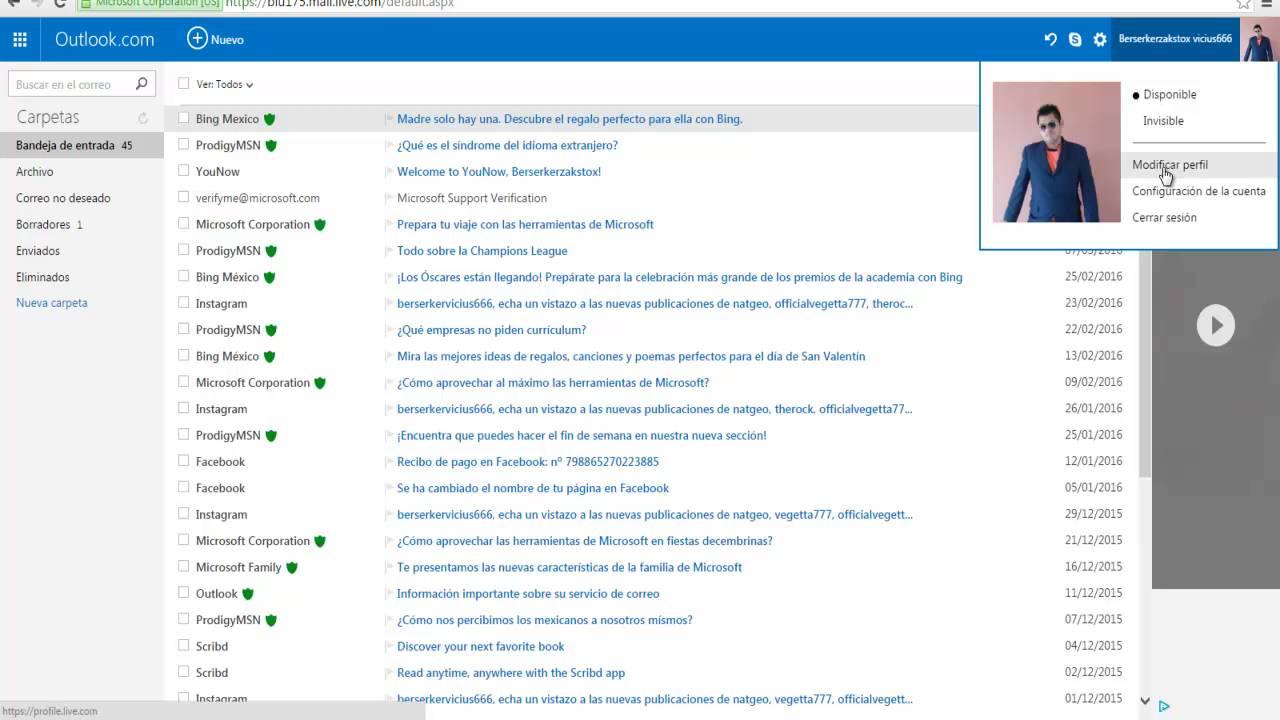 Cómo Colocar Una Imagen De Perfil En Mi Correo Electronico Hotmail YouTube