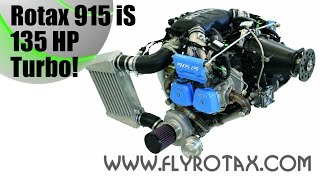 Rotax 915 iS, 135 HP, turbo-charged aircraft engine based on the Rotax 912 iS.
