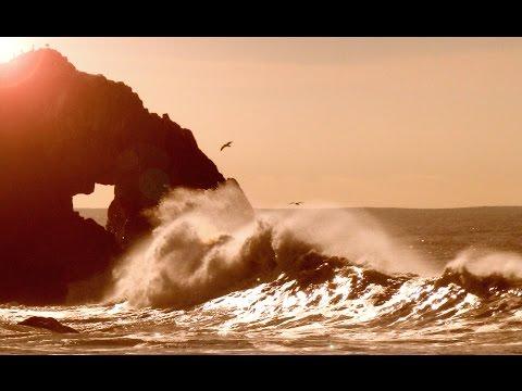 Huge Ocean Waves Crashing on Rocks - 1 hour (w/Music)