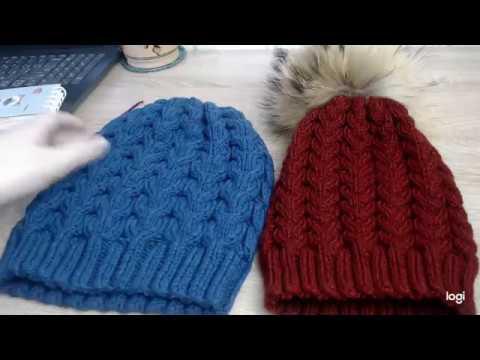 Связать женскую шапку спицами косами