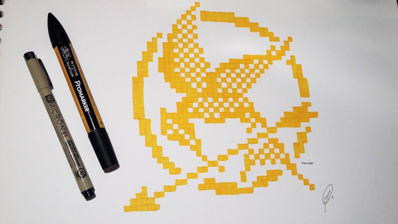 Hunger Games Mocking Jay Drawing Pixel Art Youtube