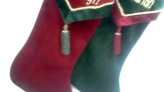 Velvet V Cuff Christmas Stockings T20542 by StockingFactory.Com