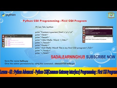 Lesson - 63 : Python Advanced - Python CGI(Common Gateway Interface) Programming : First CGI Program