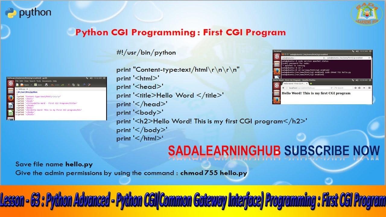 Lesson - 63 : Python Advanced - Python CGI(Common Gateway Interface)  Programming : First CGI Program
