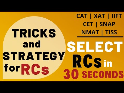 Strategy & Tricks for RC | Select RC's in 30 seconds | CAT | XAT | IIFT | CET | SNAP | NMAT |TISS