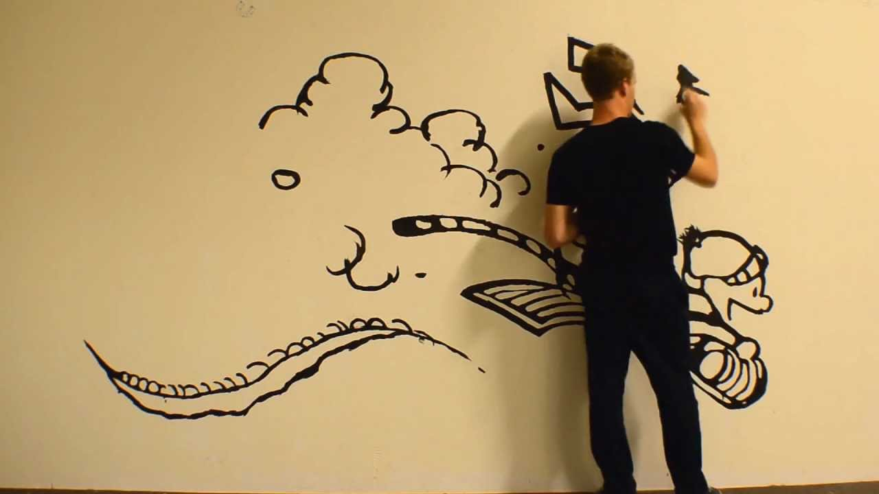 Massive Calvin and Hobbes time lapse painting - YouTube