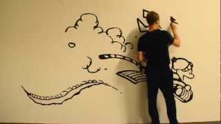 Massive Calvin and Hobbes time lapse painting