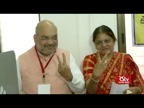 BJP President Amit Shah casts his vote from Ahmedabad